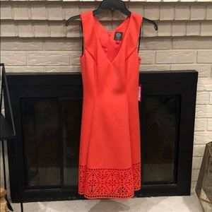 Vince Camuto laser cut flare dress